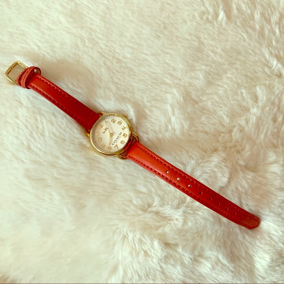 Authentic COACH Genuine Leather Red Orange Watch